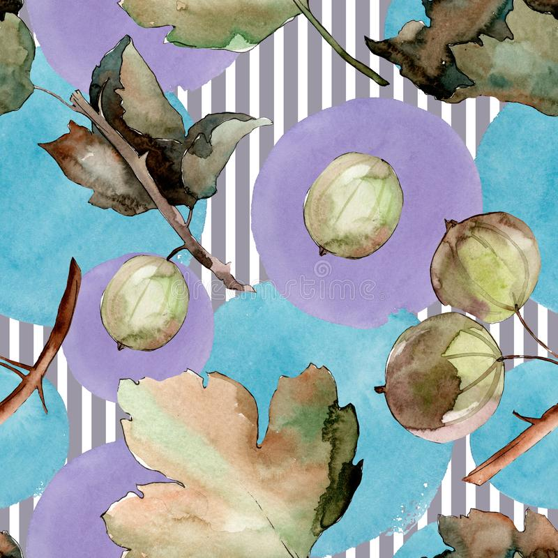 Gooseberry healthy food. Watercolor background illustration set. Seamless background pattern. Gooseberry healthy food. Watercolor background illustration set vector illustration