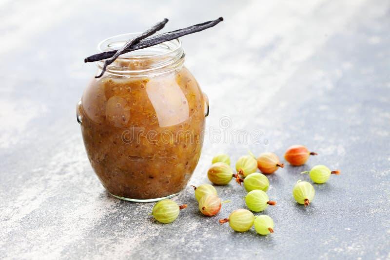 Gooseberry jam. Homemade gooseberry jam with vanilla - goods in jar royalty free stock photo