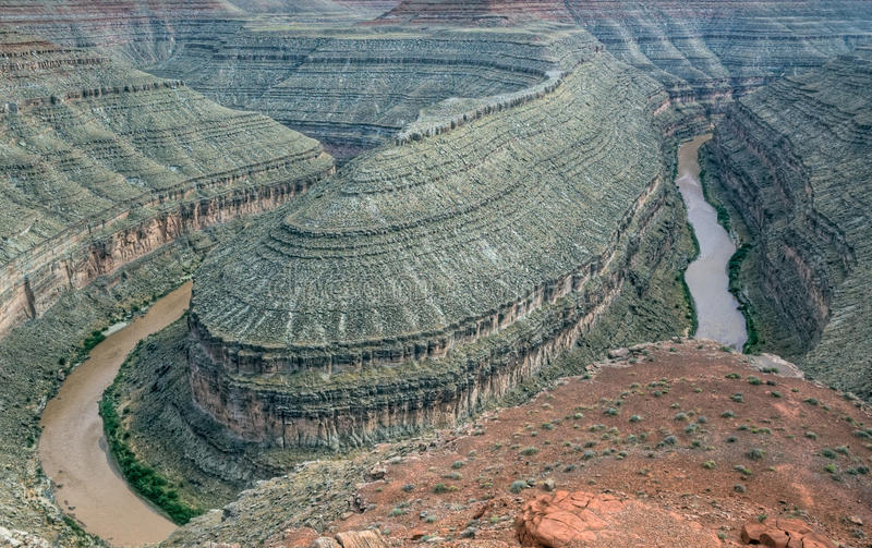 Gooseneck in Glen Canyon National Recreation Area stock photos