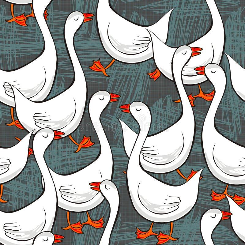 Gooses brancos no teste padrão sem emenda cinzento desarrumado ilustração do vetor