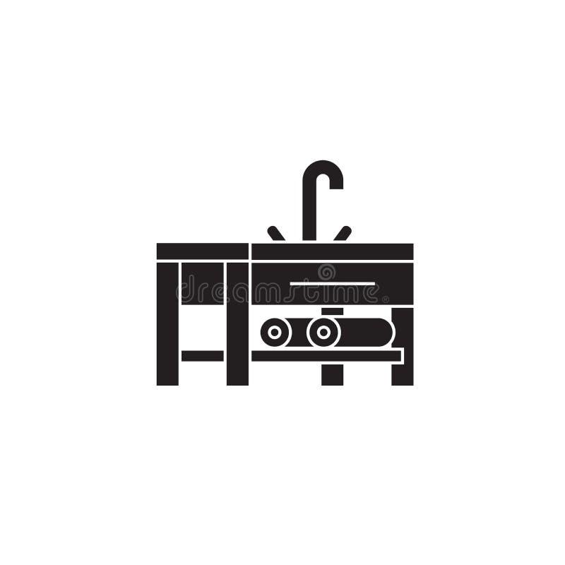 Gootsteen met een pictogram van het tapkraan zwart vectorconcept Gootsteen met een tapkraan vlakke illustratie, teken royalty-vrije illustratie