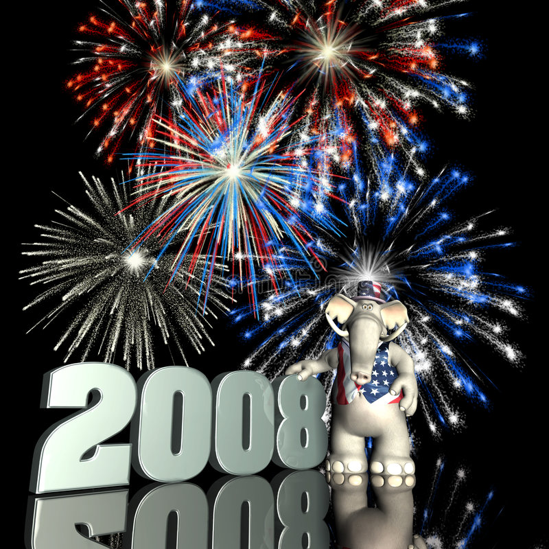 GOP 2008. Represented by a Republican Political Elephant with red, white and blue fireworks stock images