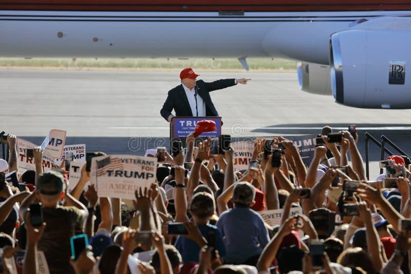 GOP Presidential Candidate Donald Trump Campaigns In Sacramento, California. SACRAMENTO, CA - JUNE 01, 2016: Republican Presidential candidate Donald Trump royalty free stock photo