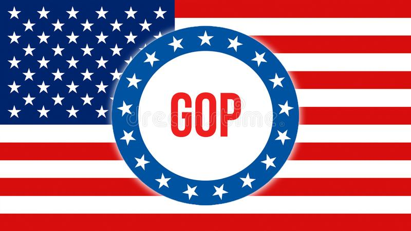 Gop-Wahl auf einem USA-Hintergrund, Wiedergabe 3D Staaten von Amerika fahnenschwenkend im Wind Abstimmung, Freiheits-Demokratie,  lizenzfreie abbildung