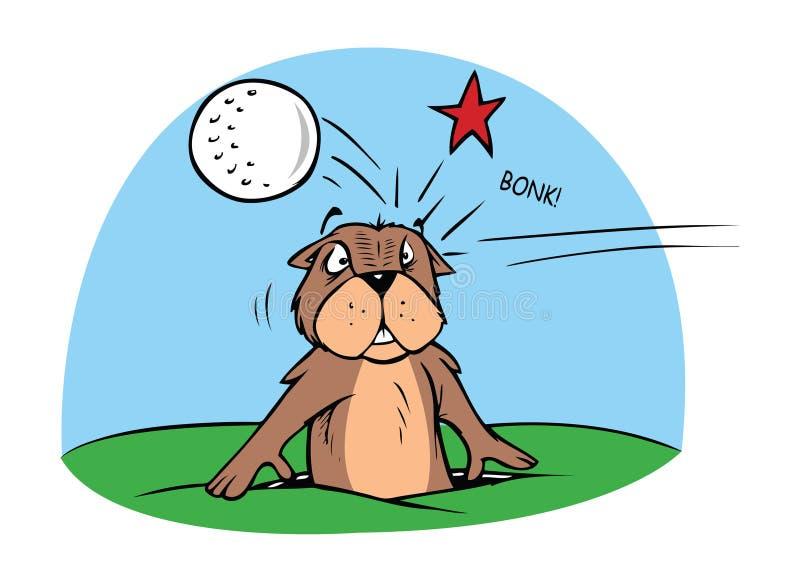 Gopher en golfbal vector illustratie