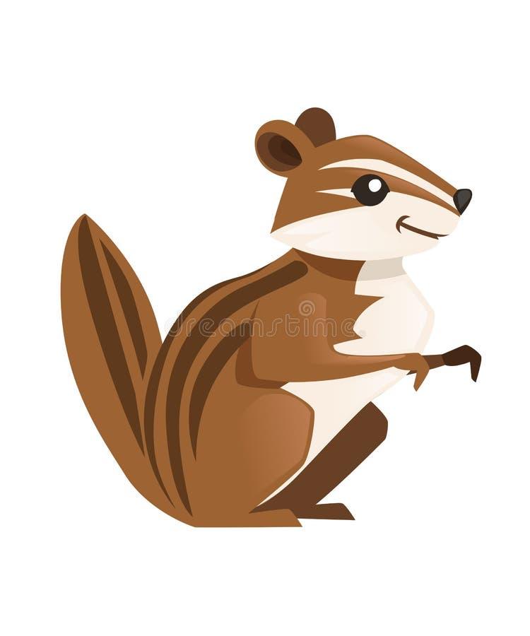 Gopher lindo de Brown Dise?o animal de la historieta Ejemplo plano aislado en el fondo blanco Habitante del bosque Animal salvaje ilustración del vector