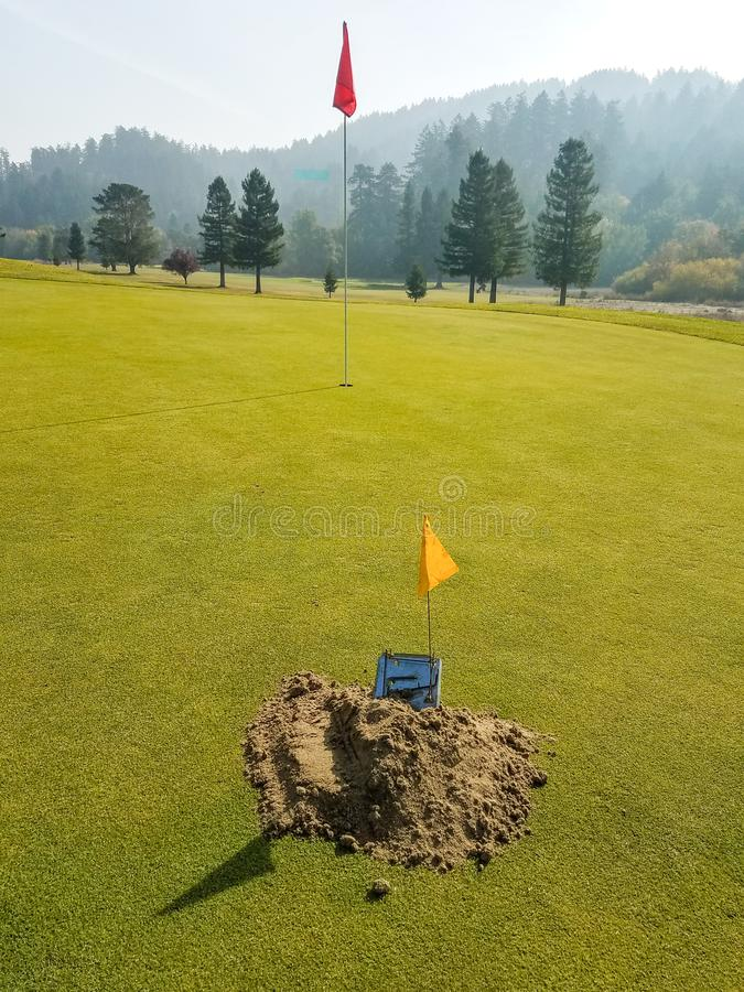 Gopher or Mole trap on golf green royalty free stock images