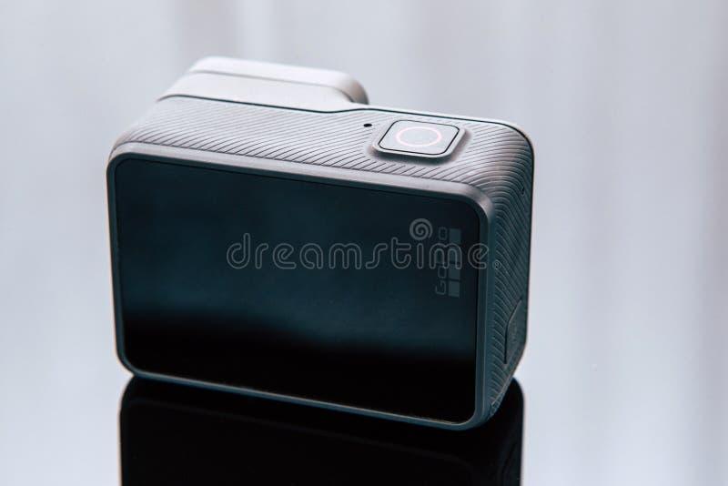 GoPro英雄5数字式行动照相机后面视图 图库摄影