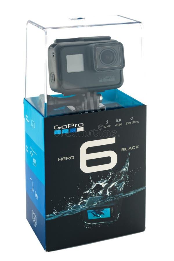 GoPro被隔绝的英雄6黑色 免版税图库摄影