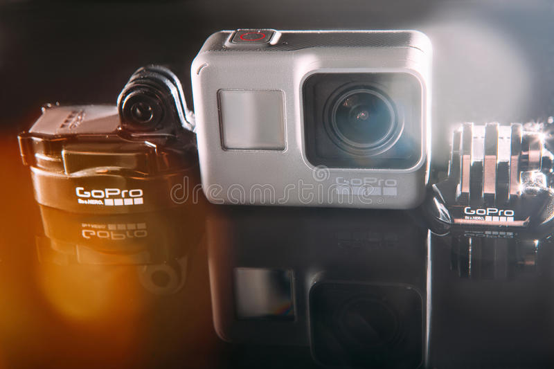 GoPro HERO 5 action camera with accessories stock image