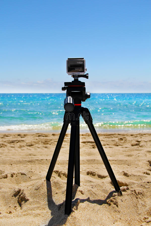 GoPro HERO3+ Black Edition Digital Action Camera Mounted on a Tripod on Fort Lauderdale Beach in Florida royalty free stock images