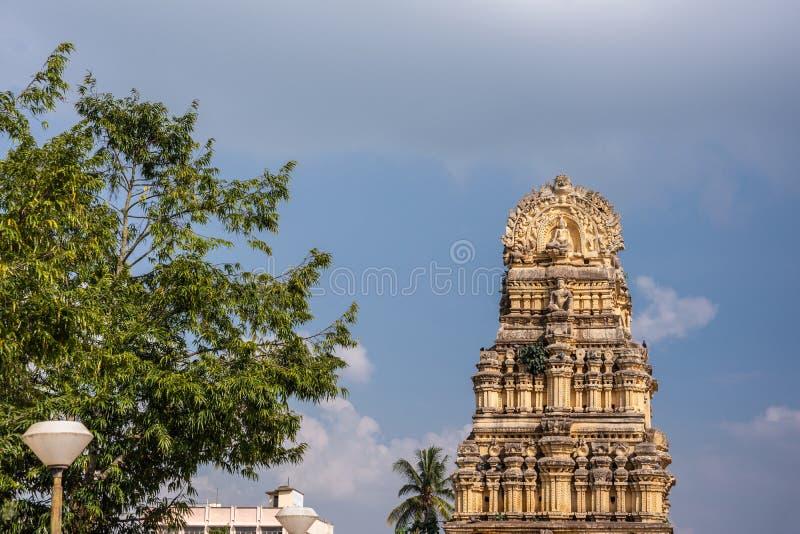 Gopuram bij ingang aan Kalyani Shravanabelagola in Karnataka, binnen royalty-vrije stock foto's