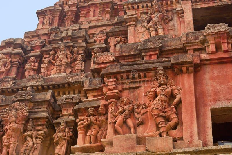 Gopuram ou porte d'entrée principale Plan rapproché des sculptures Temple de Vitthal, Hampi, Karnataka images libres de droits