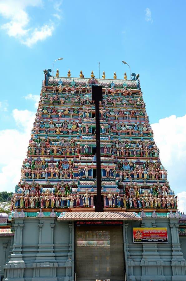 Gopuram pagoda of Tamil Kallumalai Murugan Kovil Hindu temple Ipoh Malaysia royalty free stock photo