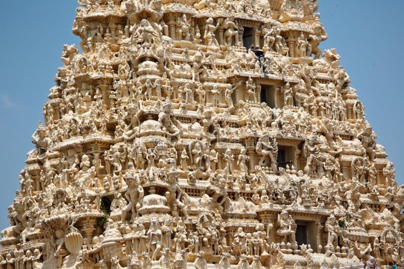 Gopuram (torre) del templo hindú fotos de archivo libres de regalías