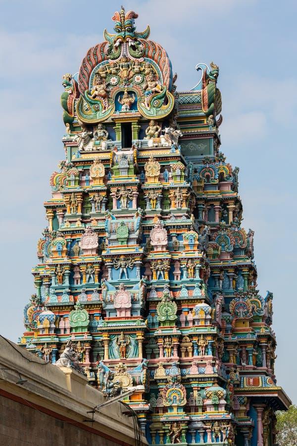 Gopurams des Meenakshi-Tempels lizenzfreie stockfotos