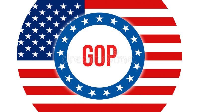 Gopverkiezing op een achtergrond van de V.S., het 3D teruggeven De vlag die van de Verenigde Staten van Amerika in de wind golven stock illustratie