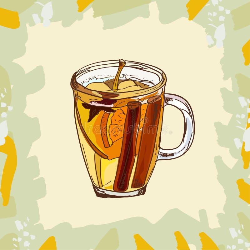 Gorąca Rozmyślająca Jabłczanego cydru koktajlu klasyczna ilustracja Alkoholiczka napoju ciepła prętowa ręka rysujący wektor Wystr royalty ilustracja
