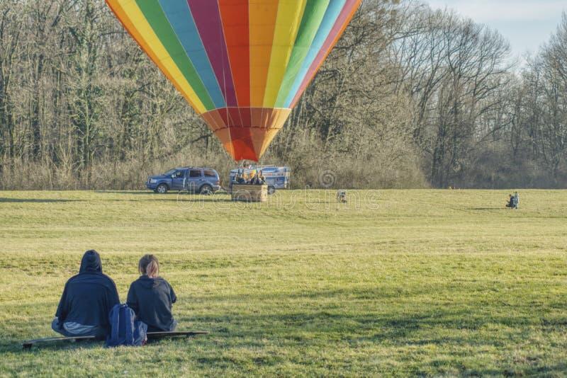 Gorące powietrze balonu loty zdjęcia royalty free