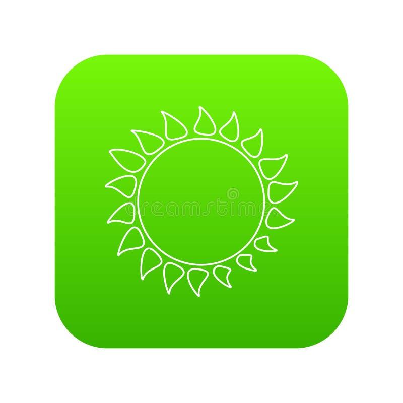 Gorący słońce ikony zieleni wektor royalty ilustracja