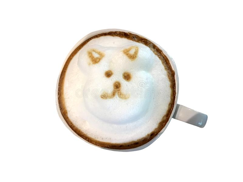 Gorąca cappuccino kawa w białej filiżance odizolowywającej na białym tle obraz royalty free