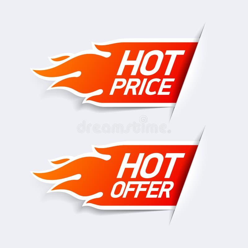 Gorąca cena i gorący oferta symbole ilustracji