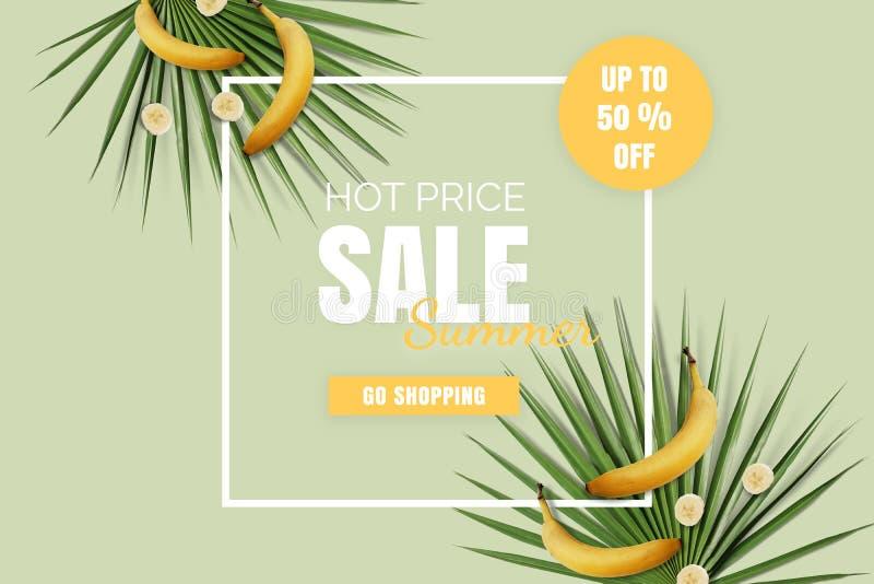 Gorąca ceny lata sprzedaż flatlay Oferta plakat z bananami ilustracja wektor