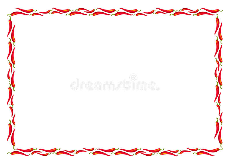 Gorąca chili pieprzy rama wektor ilustracji