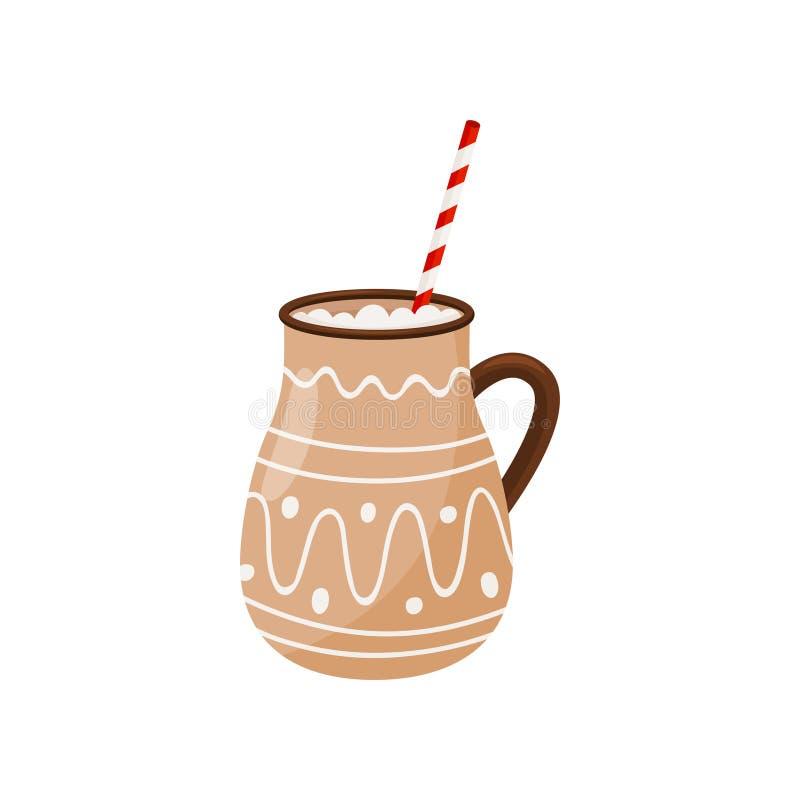 Gorąca czekolada w brązu ceramicznym kubku z pić słomę Wyśmienicie Bożenarodzeniowy napój smaczny napój Płaska wektorowa ikona royalty ilustracja
