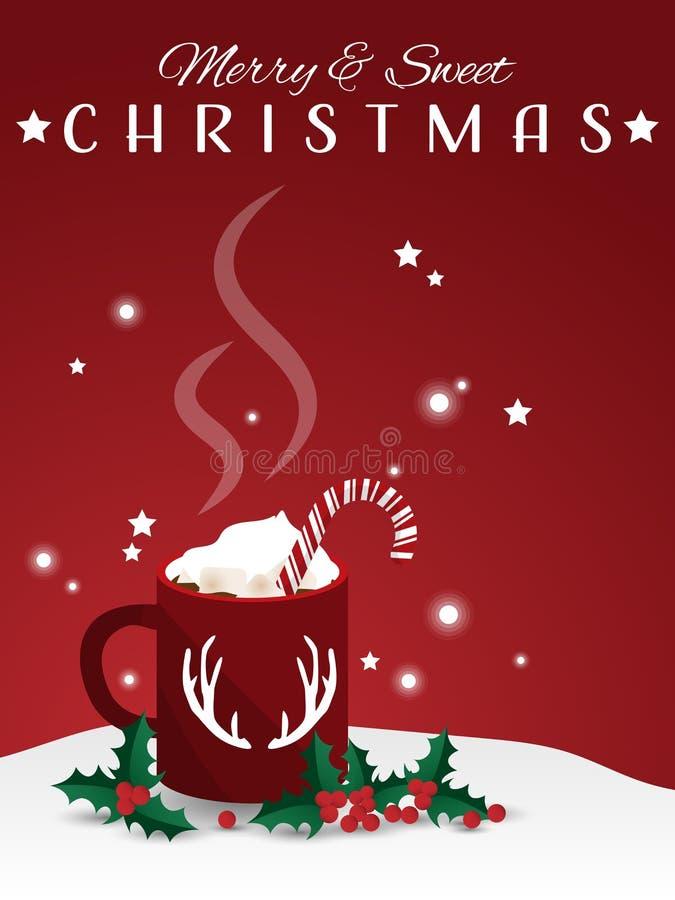 Gorąca czekolada z marshmallow i cukierku trzcin blisko gałąź uświęcone jagody na śniegu ilustracja wektor