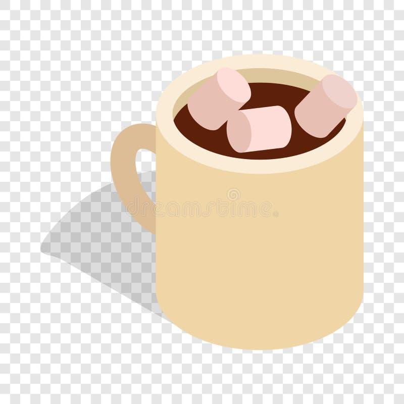 Gorąca czekolada z marshmallows w filiżance isometric royalty ilustracja