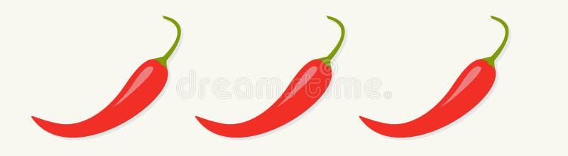 Gorąca Czerwona Chili Jalapeno pieprzu ikony setu linia odosobniony Biały tło Rabatowy dekoracja element Płaski projekt ilustracja wektor