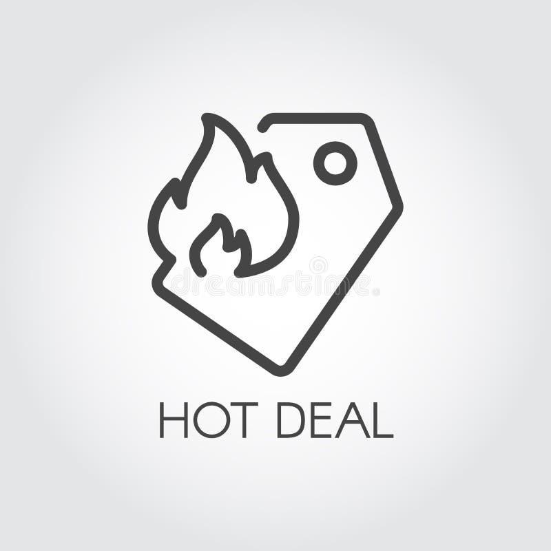Gorąca dylowa kontur ikona Metka z ogienia znakiem Promoci i reklamy konturowy graficzny piktograf ilustracja wektor