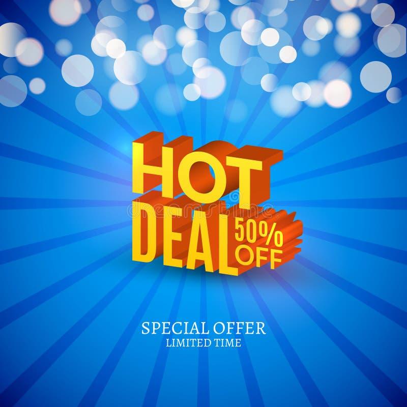 Gorąca dylowa sprzedaż 3d pisze list plakat Promocyjny marketingowy sprzedaż plakat ilustracja wektor