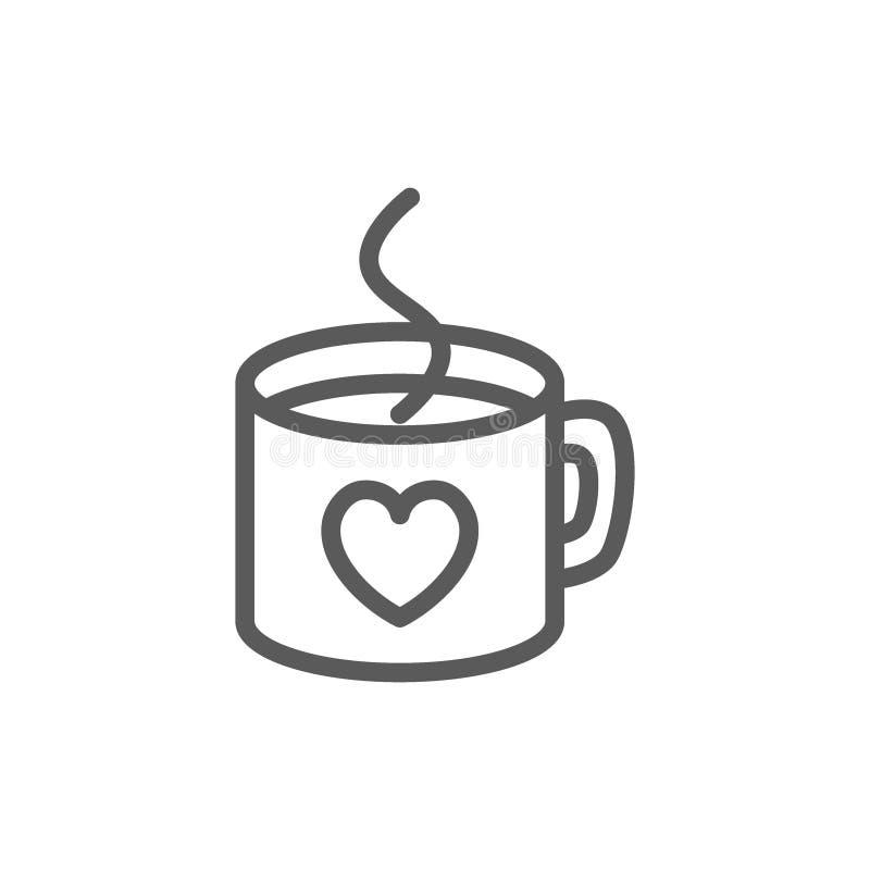 Gorąca filiżanka z sercem, walentynki kreskowa ikona ilustracji