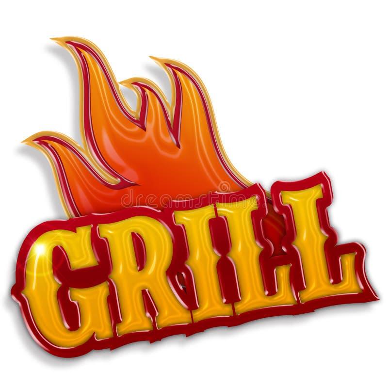 Gorąca grill etykietka ilustracji
