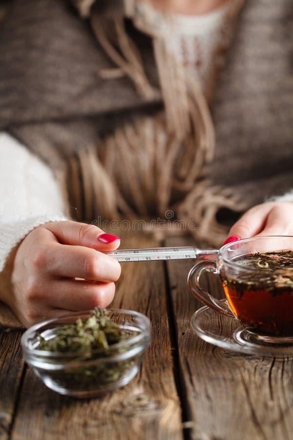 Gorąca herbata przeciw febrze obraz royalty free