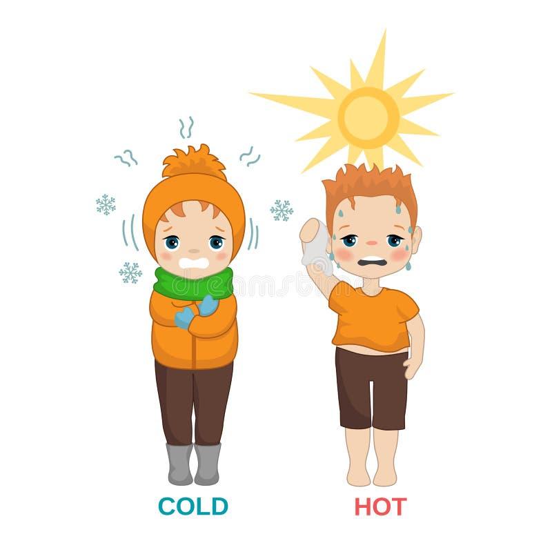 Gorąca i zimna chłopiec royalty ilustracja