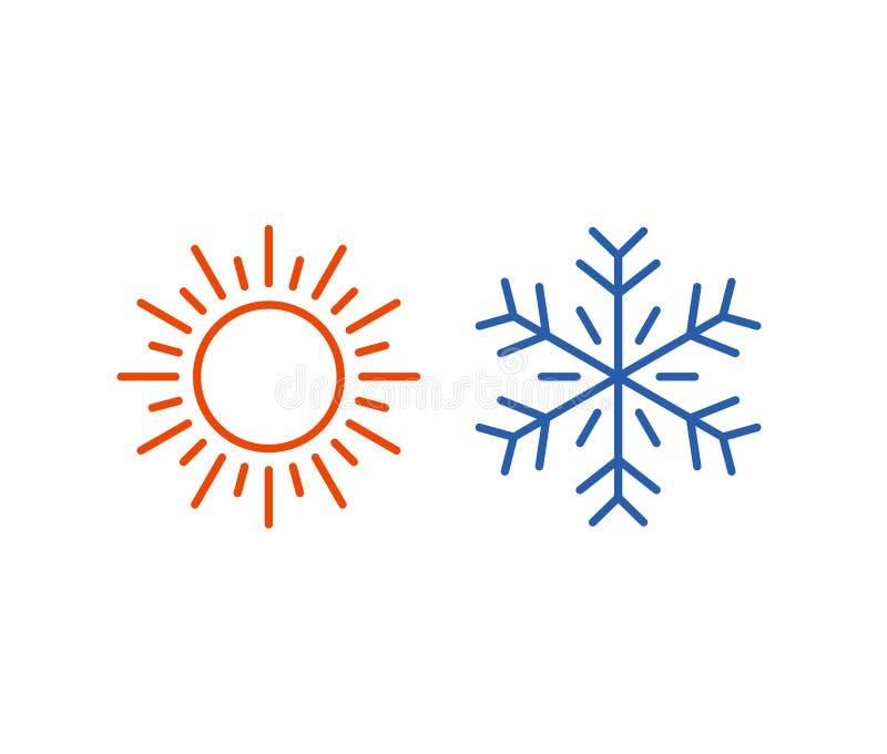 Gorąca i zimna ikona Słońce, płatka śniegu symbol royalty ilustracja