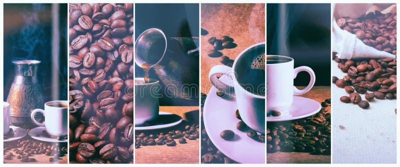 gorąca kawa Kawowy turek i filiżanka gorąca kawa z kawowymi fasolami obrazy stock