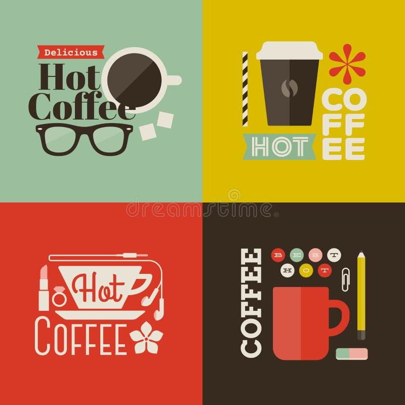 Gorąca kawa. Kolekcja wektorowi projektów elementy ilustracja wektor