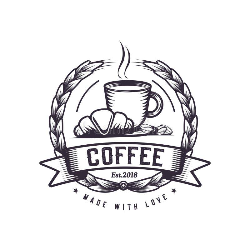 Gorąca kawy i Croissant retro ilustracja, rocznika logo dla sklep z kawą z kawowymi fasolami obok go Ranku śniadania drawin ilustracji