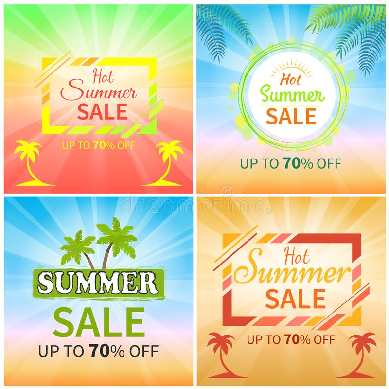 Gorąca lato sprzedaż Do 70 Z Promocyjnych sztandarów royalty ilustracja