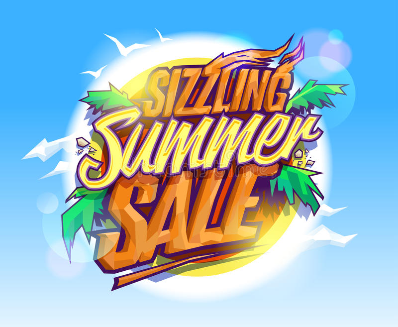 Gorąca lato sprzedaż, gorący tropikalny projekt royalty ilustracja