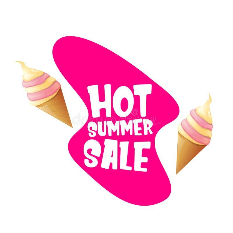 Gorąca lato sprzedaży etykietka lub etykietka z roztapiającym lody Wektorowy gorący lato sprzedaży menchii sztandar lub ikona royalty ilustracja