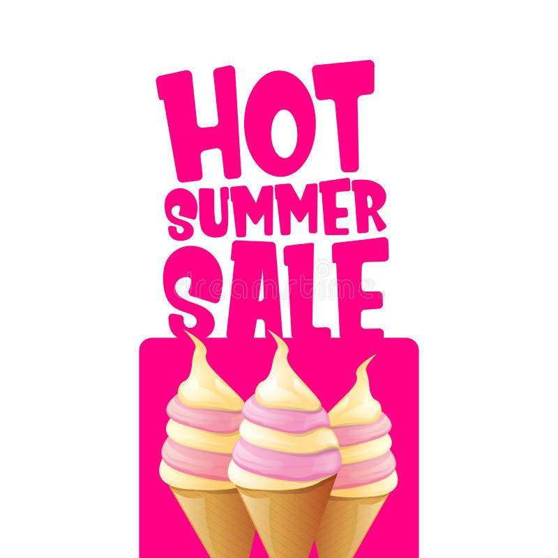 Gorąca lato sprzedaży etykietka lub etykietka z roztapiającym lody Wektorowy gorący lato sprzedaży menchii sztandar lub ikona ilustracja wektor