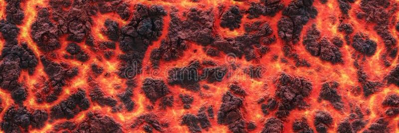 gorąca lawa Płonąca węgla pęknięcia powierzchnia royalty ilustracja