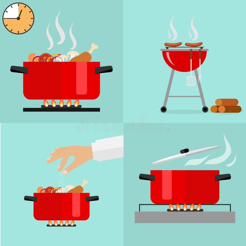Gorąca niecka odizolowywająca, rondel na kuchence, niecki ikona, kucharz royalty ilustracja