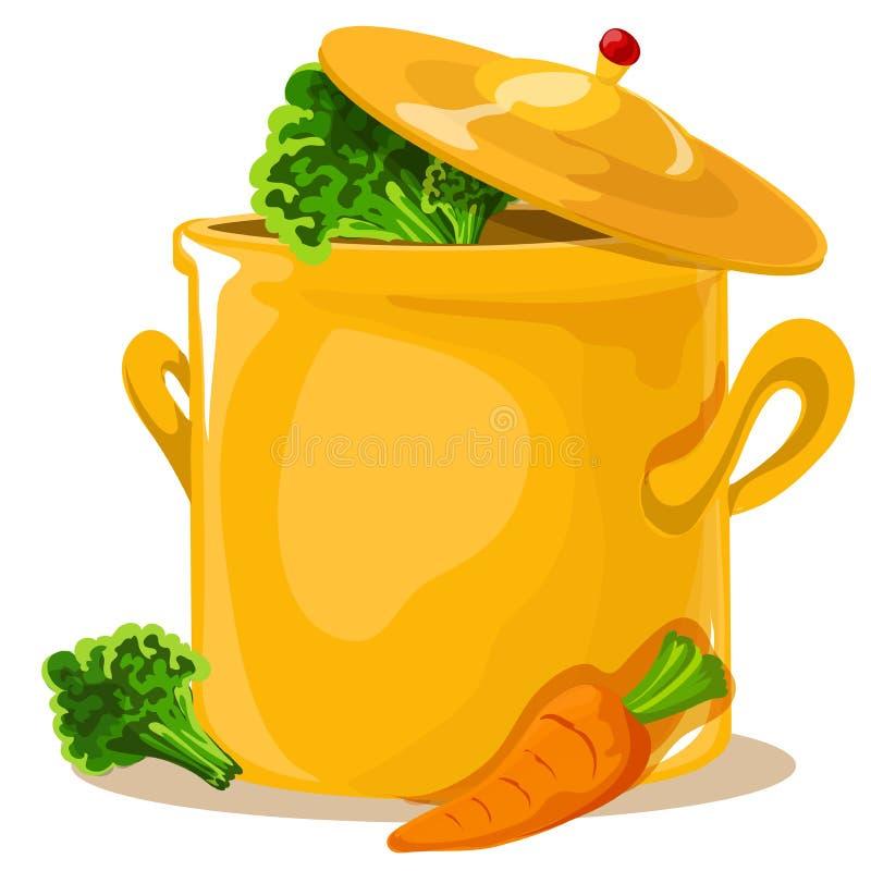 Gorąca niecka odizolowywająca, rondel na kuchence, niecki ikona, kucharz Płaski projekt ilustracja wektor