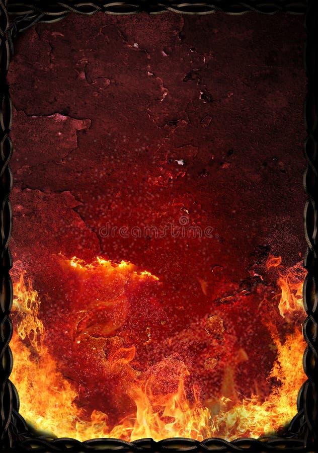 Gorąca ośniedziała powierzchnia z płomieniami ogień royalty ilustracja